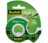 PLAKBAND 3M SCOTCH 19MMX15M MET TAPEHOUDER MAGIC