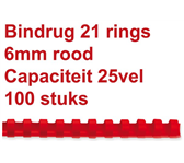 BINDRUG FELLOWES 6MM 21RINGS A4 ROOD