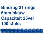 BINDRUG FELLOWES 6MM 21RINGS A4 BLAUW