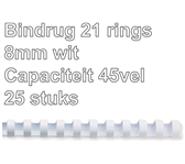 BINDRUG FELLOWES 8MM 21RINGS A4 WIT