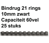 BINDRUG GBC 10MM 21RINGS A4 ZWART