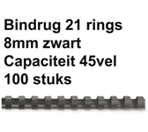 BINDRUG GBC 8MM 21RINGS A4 ZWART