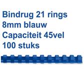 BINDRUG FELLOWES 8MM 21RINGS A4 BLAUW