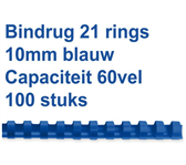 BINDRUG FELLOWES 10MM 21RINGS A4 BLAUW