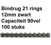 BINDRUG FELLOWES 12MM 21RINGS A4 ZWART