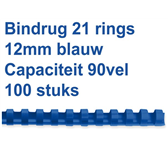 BINDRUG GBC 12MM 21RINGS A4 BLAUW