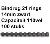 BINDRUG FELLOWES 14MM 21RINGS A4 ZWART
