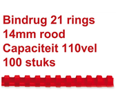 BINDRUG GBC 14MM 21RINGS A4 ROOD