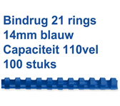 BINDRUG GBC 14MM 21RINGS A4 BLAUW