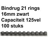 BINDRUG FELLOWES 16MM 21RINGS A4 ZWART