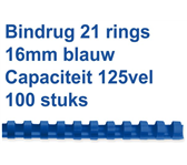 BINDRUG FELLOWES 16MM 21RINGS A4 BLAUW