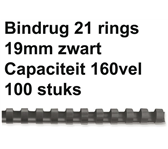 BINDRUG FELLOWES 19MM 21RINGS A4 ZWART