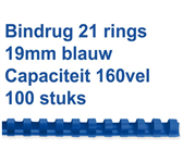 BINDRUG GBC 19MM 21RINGS A4 BLAUW