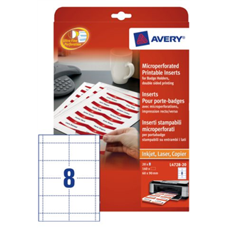 BADGE AVERY L4728-20 60X90MM 160ST PERF