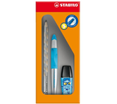ROLLERPEN STABILO EASY SET LINKS NE BLAUW/METALLIC