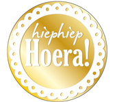 ETIKET HAZA HIEPHIEP HOERA GOUD/WIT