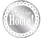 ETIKET HAZA HIEPHIEP HOERA ZILVER/WIT