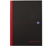 NOTITIEBOEK OXFORD BLACK AND RED A4 RUIT