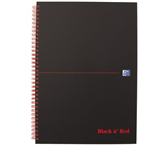 NOTITIEBOEK OXFORD BLACK AND RED A4 RUIT KARTON