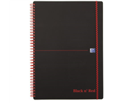 NOTITIEBOEK OXFORD BLACK AND RED A4 PP LIJN