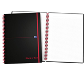 NOTITIEBOEK OXFORD BLACK AND RED A4 PP RUIT