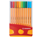 FINELINER STABILO POINT 88 ETUI ANTRACIET/ORANJE ASS