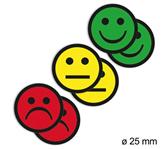 MAGNEET SMILEY 2.5CM 2X GEEL 2X GROEN 2X ROOD